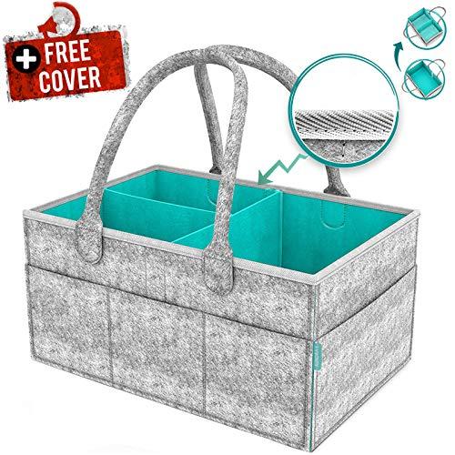 Bayb Baby Diaper Caddy Organizer with Cover – Newborn Shower Gift Basket for Mom Dad Bonus – Nursery Diaper Caddy Storage Bin – Portable Car Travel Organizer – Newborn Registry Must Have