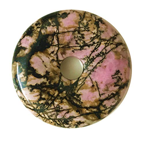 Natural 40mm Gemstone Crystals Agate Jasper Reiki Healing Chakra Donut Pendant Bead DIY Jewelry Accressory Necklace Kit (Rhodonite)