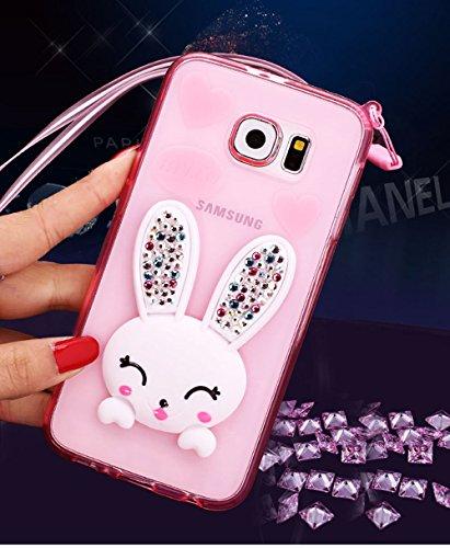 909e51b161a4ae Sunnycase® Samsung Galaxy S7 Edge Coque Transparente 3D Lapin Case Silicone  Bunny Souple TPU Cover avec Fonction Stand  oreille de Rabbit  Bling  Crystal ...