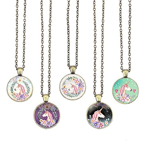 (BUENAVO Unicorn Pendant Necklace Glass Cabochon Pendant Vintage Art Inspired Necklace with 24 inches Copper Oval Chain Antique Bronze Finish Pendant Handmade for Gifts 5pcs (Unicorn 6))
