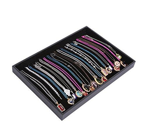 Homanda Black Velvet 20 Hook Necklace Jewelry Tray Display Showcase Organizer Case