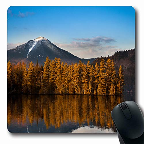 Ahawoso Mousepads for Computers Nature Blue Adirondack Snowy Whiteface Mountain Reflections Paradox Scenic Bay Lake Parks Afternoon Oblong Shape 7.9 x 9.5 Inches Non-Slip Oblong Gaming Mouse Pad ()
