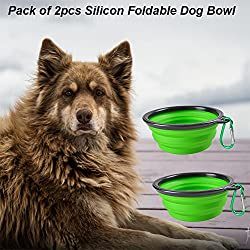 Pack of 2pcs Collapsible Dog Bowl, Eco-friendly Silicone Foldable Expandable Cup Dish for Pet Cat Food Water Feeding Portable Travel Bowl Free Carabiner (Green)