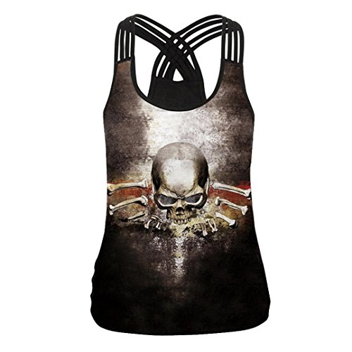 Nikuya Women Sexy Fashion Bandage Printed Blouse Tank Tops Camis Sleeveless V Neck Vest Clothes (L, Black)