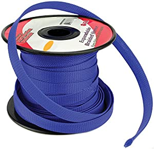 51Autf7IdTL._SX300_ amazon com blue 1 4 100ft braided expandable flex sleeve wiring  at cita.asia