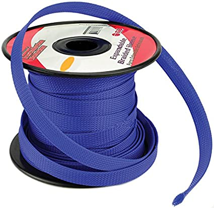 Amazon.com: BLUE 1/4 100FT BRAIDED EXPANDABLE FLEX SLEEVE WIRING ...