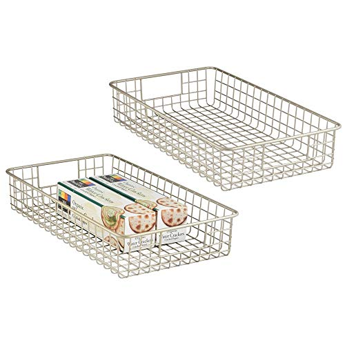 mDesign Household Metal Wire Cabinet Organizer Storage Organizer Bins Baskets trays - for Kitchen Pantry Pantry Fridge, Closets, Garage Laundry Bathroom - 16