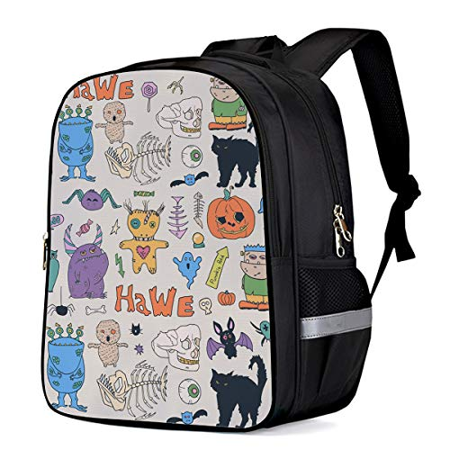 School Backpack for Boys/Girls/Kindergartener Halloween Theme Element Personalized 3D Printed Kids Shoulders Bag Bookbag Lunch Bag Travel Daypack Small