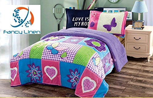 Fancy Collection 2pc Sumptuously Soft Plush Butterfly Sherpa Bedspread
