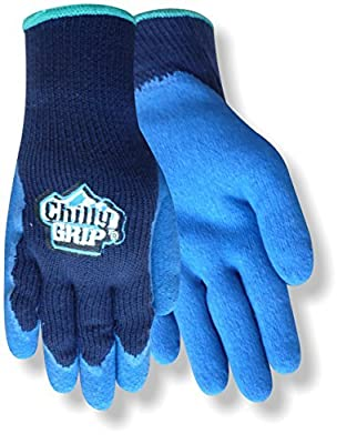 Red Steer Chilly Grip A311 Black/Blue Acrylic Full Fingered Work & General Purpose Gloves - Rubber Foam Coating - Rough Finish