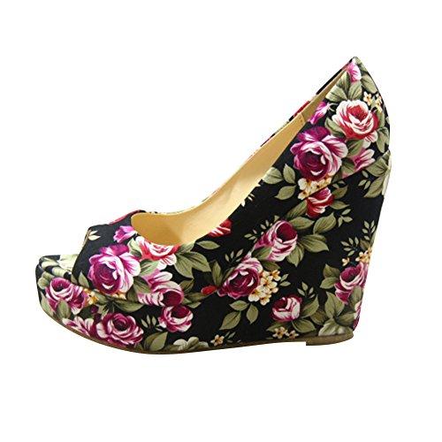 fereshte Women's Floral Print Peep Toe Platform Wedge Pump Black JYExqoMe