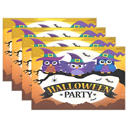 Halloween Party Owl Placemats Table Mats Placemat Set of 4, Bat Moon Non Slip Washable Place Mats 12x18 inch Heat Resistant Kitchen Tablemats for Dining Room Dinner Party Home Decor ()