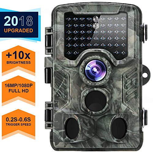 Trail Camera, 2018 Upgraded Distianert 1080P 16MP Hunting Game Camera, Wildlife Camera with Upgraded 850nm IR LEDs Night Vision 80ft, 2.4''LCD IP56 for Home Security Wildlife Monitoring/Hunting by CRENOVA