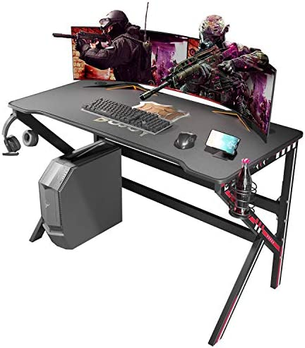 BOJOY Gaming Desk 47 inch PC Computer Desk, Home Office Desk Gaming Table Ok Shaped Gamer Workstation with Full Mouse Pad and Cell Phone Stands, Black