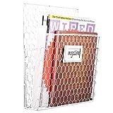white chicken wire basket - Chicken Wire Wall Mounted Metal Magazine Organizer Basket Rack w/ Chalkboard Label, White