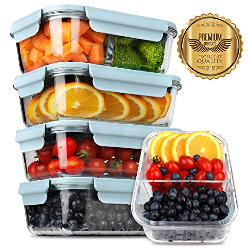 [5-Pack] 2019 Upgrade Kit Glass Meal Prep Containers, DEKINMAX Large Glass Food Storage Containers with Lids, Airtight Glass Bento Boxes, BPA Free & FDA Approved & Leak Proof (Lunch Box Glass Container)