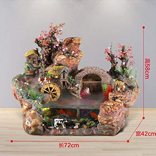 Rockery Water Fountain Fish Tank Lucky Decoration Home TV Cabinet Water Ornaments Crafts   72x42x58cm, Decoration