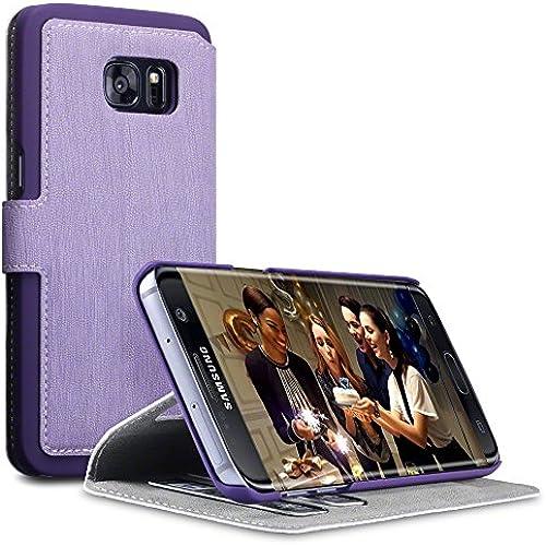 Galaxy S7 Edge Cover, Terrapin [Stand Feature] [Ultra Low Profile] Samsung S7 Edge Case Wallet [Purple] Premium Sales