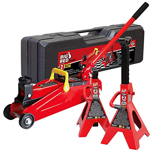 Big Red T82001S Torin Hydraulic Trolley Service/Floor Jack Combo with 2 Jack Stands and Blow Mold Carrying Storage Case, 2 Ton (4,000 lb) Capacity