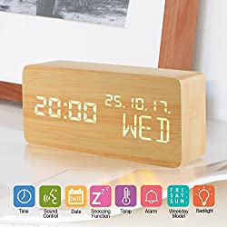 Wooden LED Digital Desk Alarm Clock, Electronic Alarm Clock 3 Brightness Adjustable Sound Control,Displays Time Date Temperature, Cube Travel Alarm Clock for Kid, Home, Office, Heavy Sleeper (wood)