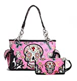 Cowgirl Trendy Western Concealed Carry Cross Sugar Skull Art Purse Handbag Shoulder Bag Wallet Set (Fuchisa)