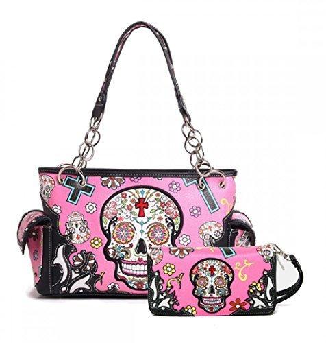 Dead Skull Guns - Cowgirl Trendy Western Concealed Carry Cross Sugar Skull Art Purse Handbag Shoulder Bag Wallet Set (Fuchisa)