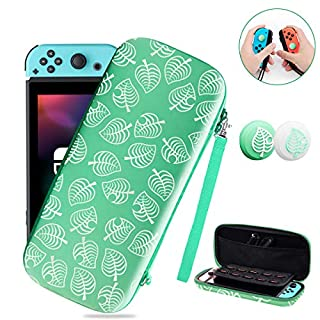 Carrying Case for Switch Lite/Switch with 2PCS Silicone Thumb Grip Caps, [for Animal New Horizons Edition] Protective Portable Slim Travel Cover Bag for NS Lite/Switch Controller
