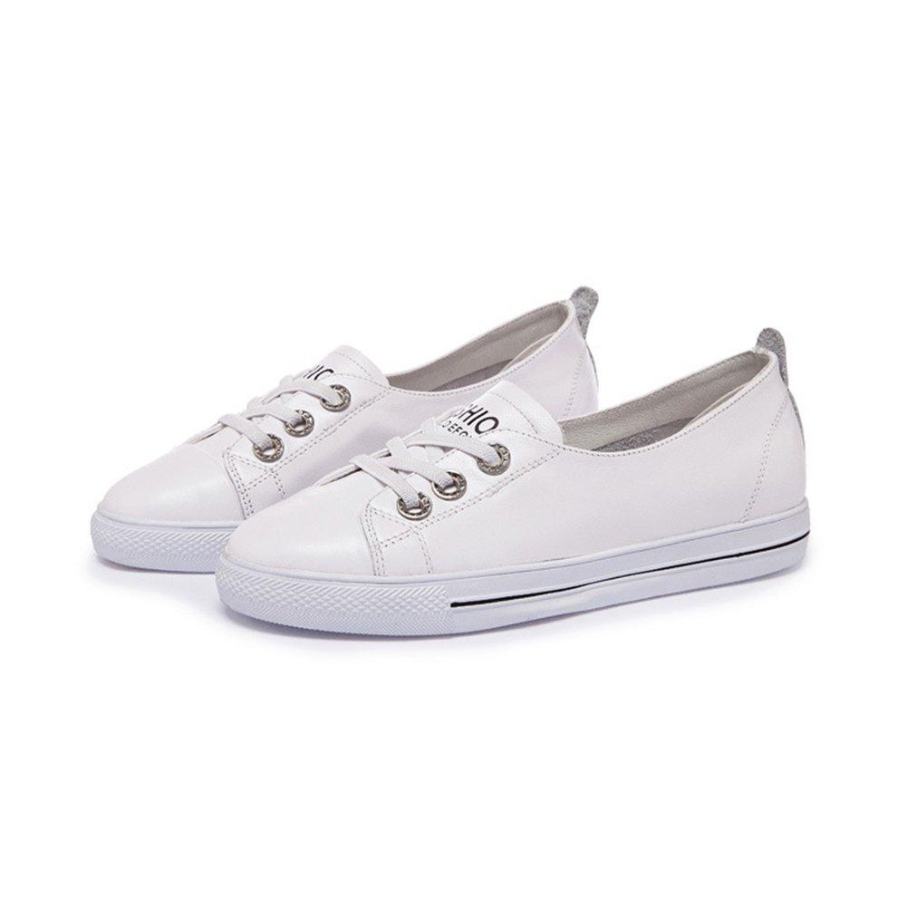 Zapatos Ocasionales de Las Mujeres 2018 New Spring, Summer, Fall Lazy Shoes Zapatos Planos Elásticos Ocasionales Redondos Flat Shallow Mouth (Color : Blanco, Tamaño : 34) 34 Blanco