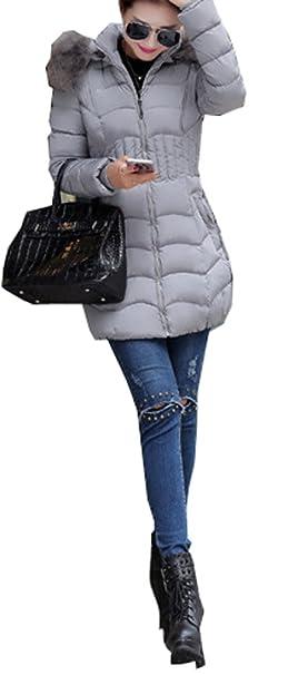 Arkind Abrigo Mujer Invierno Abrigo con Zip Parka Invierno Abrigo Rojo Negro Gris Plateado: Amazon.es: Ropa y accesorios