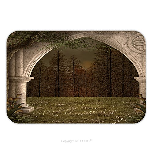 Flannel Microfiber Non-slip Rubber Backing Soft Absorbent Doormat Mat Rug Carpet Ancient Arc In The Middle Of The Forest 253580737 for Indoor/Outdoor/Bathroom/Kitchen/Workstations