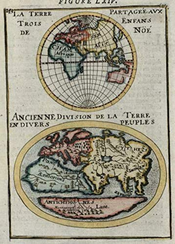 Ancient world models showing Mts. of the Moon Africa 1683 Mallet miniature map