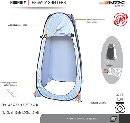 - NTK Pod Poty 3.6x3.6 Ft Portable Pop Up Privacy Shelter Dressing Changing Tent Cabana Window Room, Camping Shower Toilet Tent. Easy Assembly, Durable Fabric Full Coverage Rainfly. (Silver).