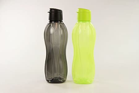 1L SCHWARZ//WEISS Tupperware EcoEasy Öko Flasche mit Schraubverschluss