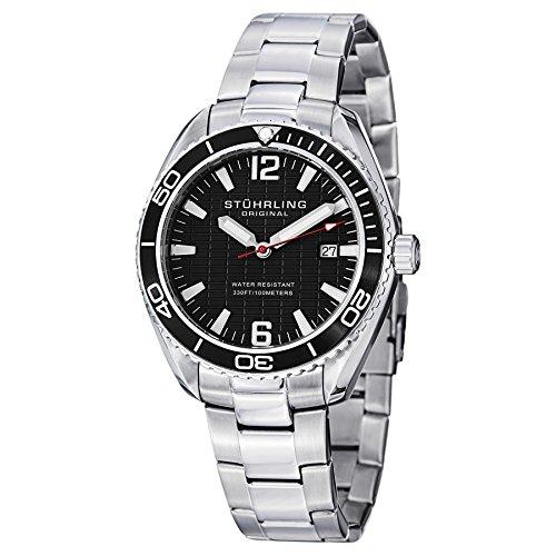 Stuhrling Original Men's 515.02 Aquadiver Regatta Endeavor Quartz Date Black Dial Stainless Steel Watch ()