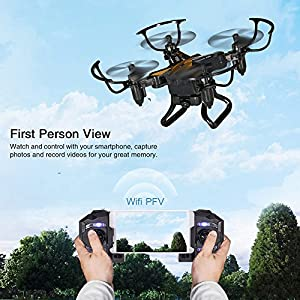SBEGO 130W FPV RC Drone with Camera HD Live Video WiFi 2.4GHz 4CH 6-Axis Gyro RC Quadcopter with One Key Return and Headless Mode Function RTF, Color Black by SBEGO