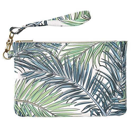 Lex Altern Makeup Bag 9.5 x 6 inch Palm Pattern Leaves Green Tropical Nature Girly Accessory Design Print Purse Pouch Cosmetic Travel Case Toiletry Women Zipper Organizer Bathroom Storage Wristband