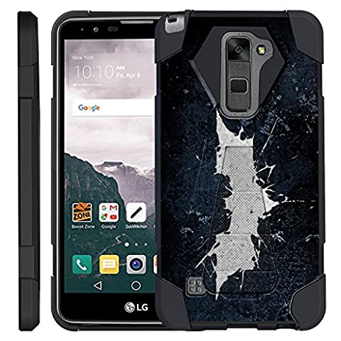 TurtleArmor   LG Stylus 2 Case   LG G Stylo 2 Case   Stylo 2 V [Dynamic Shell] Hybrid Dual Layer Hard Shell Kickstand Silicone Case - Bat (Lg Dynamic 2 Phone Case Camo)