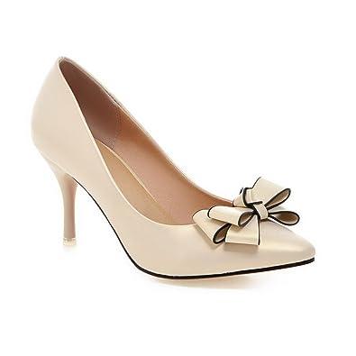 AgooLar Damen Ziehen auf Spitz Schließen Zehe Stiletto PU Rein Pumps Schuhe, Schwarz, 33