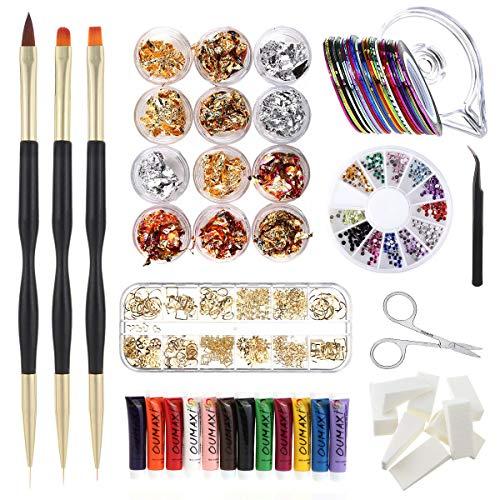 Nail Art Set, Include 12 Colors 3D Paints, 3 Drawing Flower Pen, 12 Kinds Decorations, 1 Wheels Rhinestones, 1 Box Stickers, 1 Point Pencil, Stripping Tapes, Gradient Sponge (Nail Art Set) (Pro Nail Art Set)