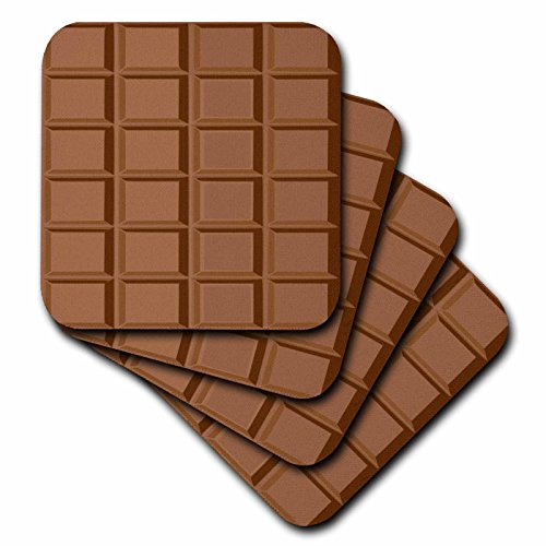 3dRose cst_56654_2 Fun Milk Chocolate Bar Squares Design for Chocoholics and Chocolate Lovers Soft Coasters, Set of 8
