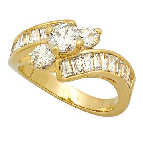 The Bling Factory 14k Gold Plated Cubic Zirconia Engagement Ring, 3-Stone Round + Channel Set Baguette Czs, Size 4-12