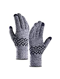 Gloves Men's Winter Warm Touch Screen Plus Velvet Fashion Thick Outdoor Riding Gloves (Color : Blue)