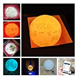 Yiding Simulation 3D Moon Night Light, 3 LEDs USB Rechargeable Moonlight Desk Lamp with Wood Base