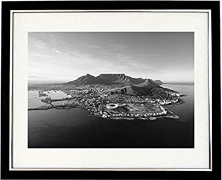 The cape framed black white print of a panoramic view of cape