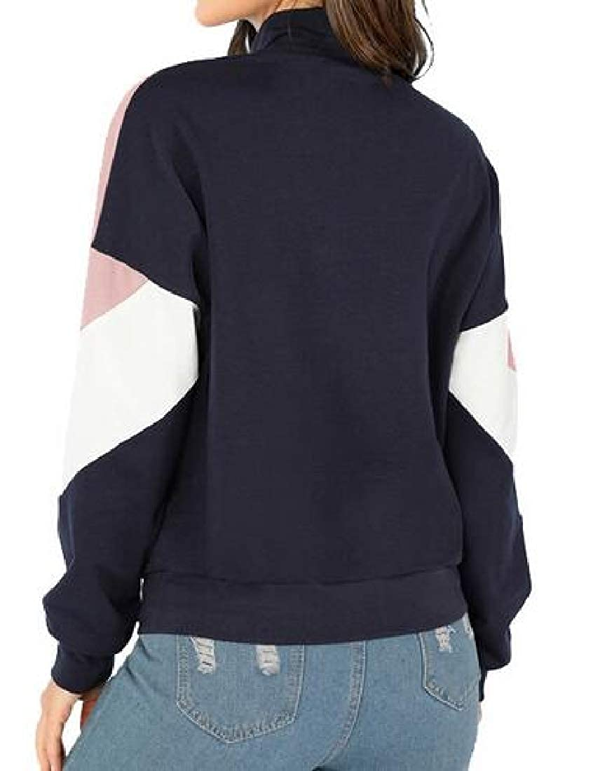 pipigo Womens Fleece Fall /& Winter Color Block Zipper Pullover Sweatshirt Coat