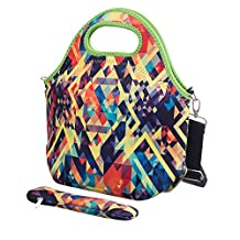 iColor Neoprene Lunch Bag with Cutlery Kit Neoprene Case for Knife,Fork,Spoon,removale Shoulder Strap, Thermal Thick Lunch Tote Bag,Large Size,Reusable Bags for Adults,Kids-Great Back to School Gift YLLB-009
