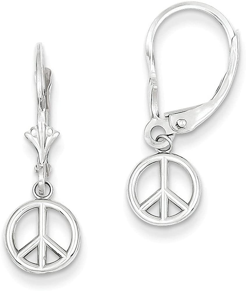 14k White Gold Polished Peace Sign Leverback Earrings