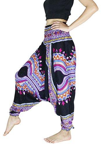 Banjamath Women's Peacock Print Aladdin Harem Hippie Pants Jumpsuit (M, Dashiki Black) -