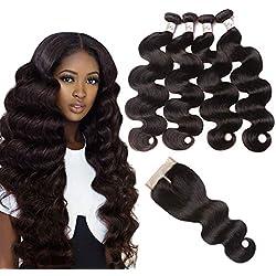 Brazilian Body Wave Bundles with Closure (24 26 28 30 with 20 Middle Part) 9A Unprocessed 4 Bundles Virgin Human Hair Bundles With Lace Closure Natural Black Color Mixed Length