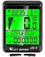 Fesjoy Computadora para Bicicleta a Prueba de Agua Inalámbrica 5 Idiomas Bicicleta Ciclismo Cuentakilómetros Cronómetro Velocímetro 2.1 Pulgadas LCD Computadora para Bicicleta